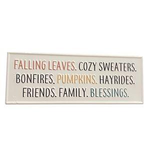 Fall Autumn Pumpkin Wood/MetalBlock Farmhouse Sign